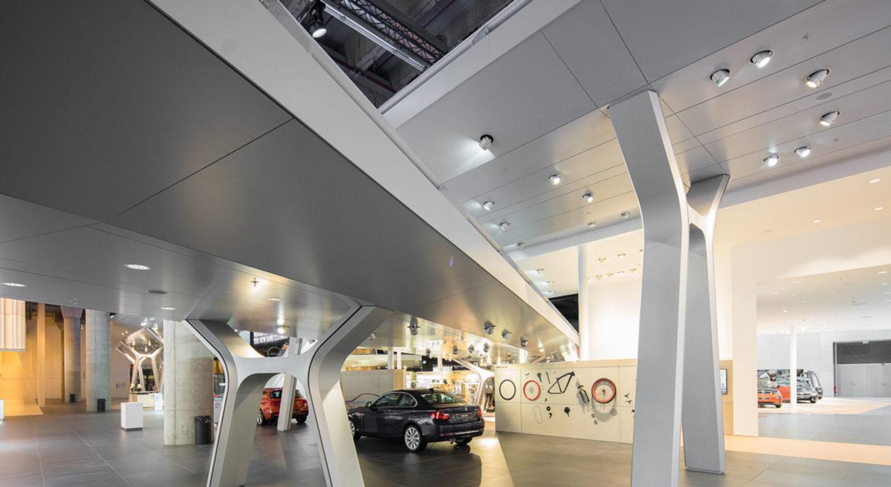 Messestand Tragwerk BMW IAA 2015 Fahrbahnstützen