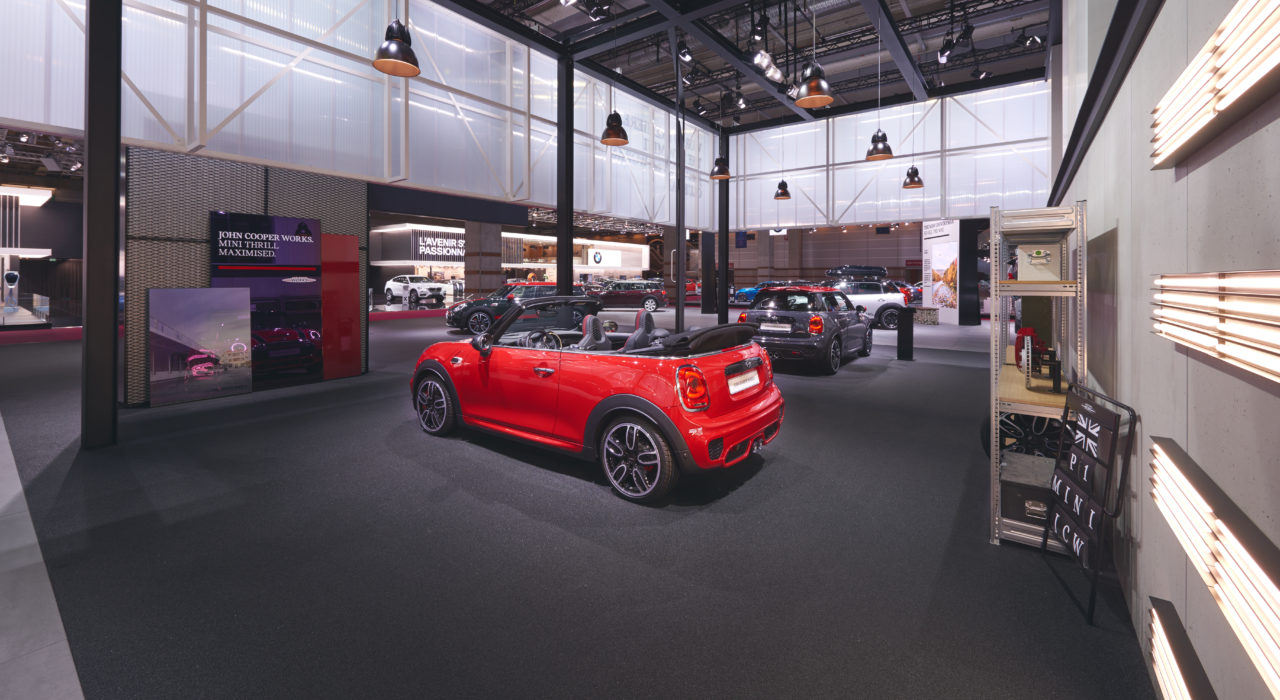 Messestand Tragwerk BMW Autosalon PAris 2016 MINI
